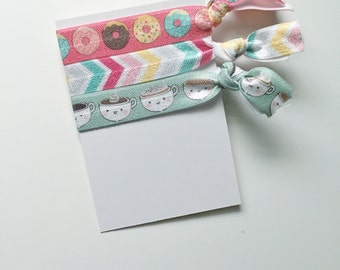 no crease elastic tie hairbands -- coffee & donuts in marine parents inspired colors