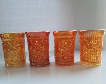 Vintage Marigold Carnival Glass Glasses