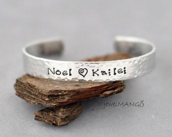 Personalized metal cuff bracelet, custom bracelet, aluminum cuff hand stamped bracelet, hammered texture, secret message