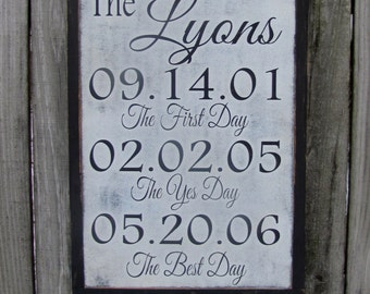 The Yes Day The Best Day Wood Sign Personalized Wooden Sign Wedding Gift, Valentines Gift, Anniversary, Family Dates Wall Art 12x18