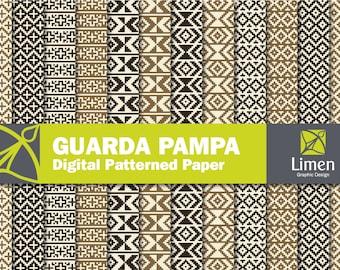Geometric Digital Paper Pack, Guarda Pampa Pattern, Geometric Paper, Geometric Background, Geometric Pattern, Geometric Scrapbook Paper