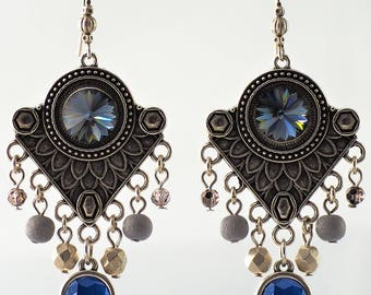 Bohemian chic blue earrings