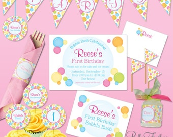 Bubbles Birthday Bash Printables - Instant Download