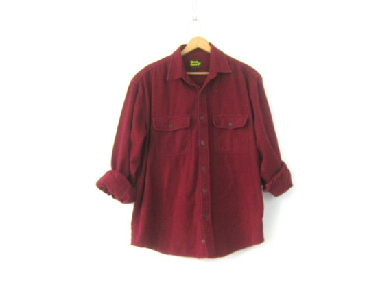 Rugged Soft Flannel Shirt Maroon Red Camping Shirt Vintage Boyfriend Rugged Button Down tomboy Collar Pocket shirt Men's Size Large