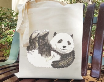 OFFER 2 Baby Animal Tote Bags, Reusable Cotton Shopper, Eco Cotton Grocery Bag, Bear Cub, Panda, Giraffe, Fox, Elephant Tote, Animal Gift