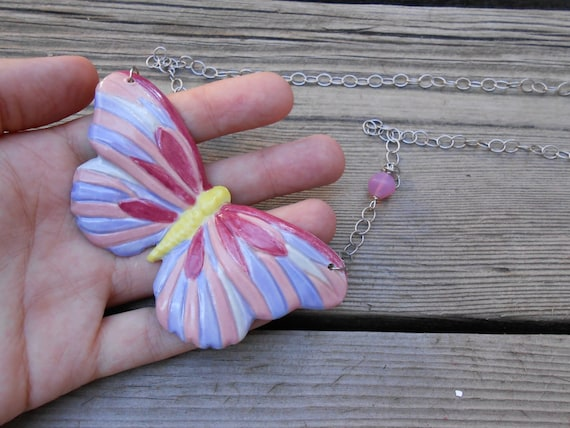 Rosy Butterfly Ceramic Slip Cast Necklace Hand Painted