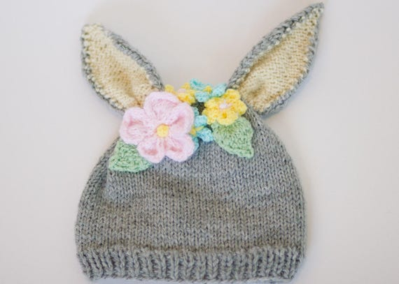 Knitting Pattern Rabbit Hat : Knit pattern hat bunny flower stripe sizes pdf beanie