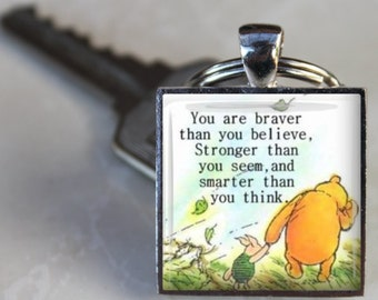 Braver Stronger Smarter Quote Winnie the Pooh Charm Keychain Granddaughter Gift