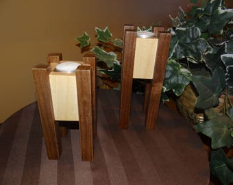 Candle Holders, Pillar Tea Light Wood Candle Holders, Pair of solid wood candle holders, Set of two tea candle Holders.