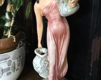 Antique Art Nouveau Chalkware Goddess, Maiden Statue