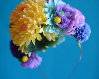 Flower headdress, festival headdress, wedding headdress, flower crown, festival headpiece, festival clothing, festival hat