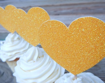 CLEARANCE. Glitter Heart Cupcake Toppers.