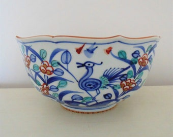 Asian Porcelain Bowl with Birds Chinese Japanese Signed