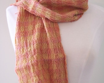 Hand Spun, Handwoven Alpaca Collapse Weave Scarf in Coral and Gold Checks Dyed with Natural Dyes