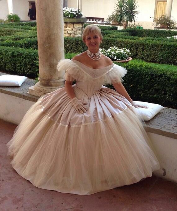 Victorian prom dress Victorian ball gown in powdered taffeta