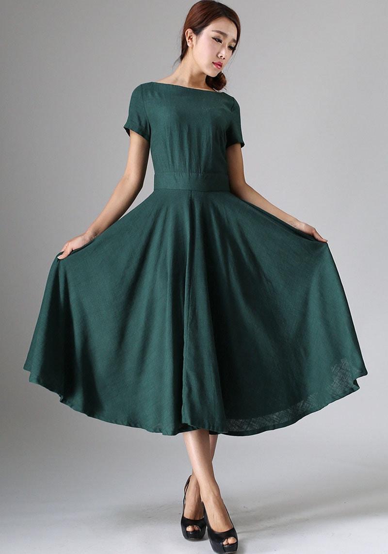 Leinen MIDI-Kleid grünes Leinen Kleid Frau 50er Jahre
