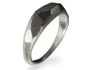 Silver Subtle Faceted Ring, Nut Ring, Faceted Ring, Industrial Jewellery, Handcrafted, Savvy Jewellery
