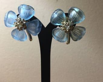 Vintage Blue Acrylic & Rhinestone Flower Earrings-Pierced