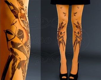 NEW orange one size Birds full length printed tights closed toe pantyhose summer spring