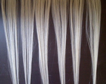 """18"""" Bleach Light Blonde Human Hair Clip In Extensions for Highlights or Thickness 6 pc"""