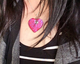 Heart Necklace, Polymer Clay Necklace, Heart Pendant, Handmade Jewelry, Pink Heart, Gift for Her, Mom Gift, Sculpted Necklace,
