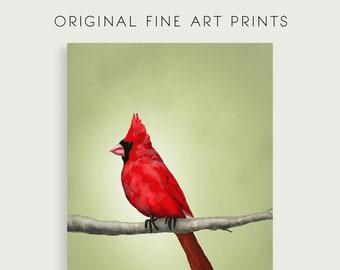 Cardinal Art Print | Red Bird Painting | Cardinal Painting | Wildlife Original Painting | Nature Art | Bird Art Prints | Wildlife Painting