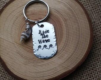 Ride the wave beach keychain