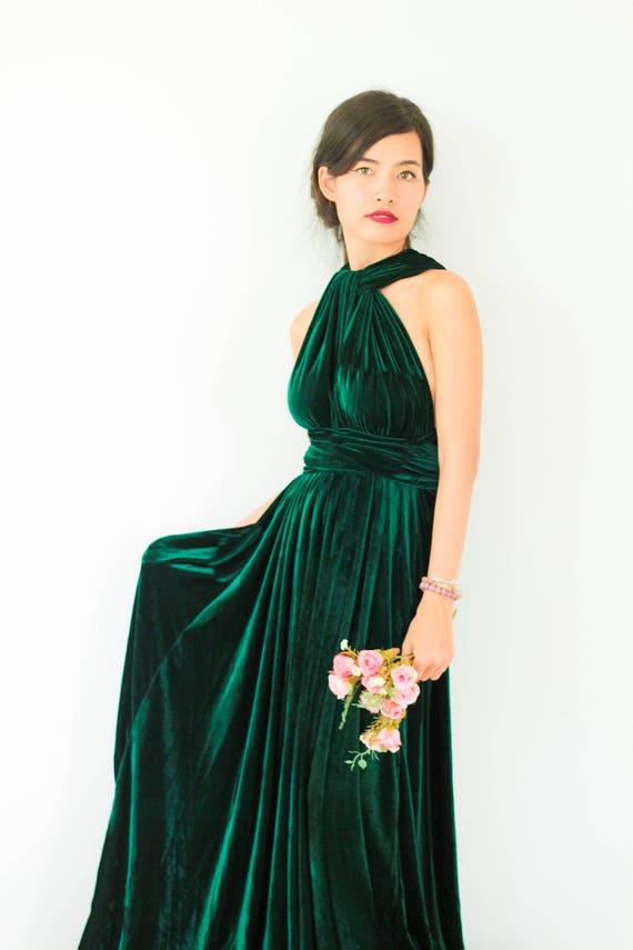 Plus Größe Smaragd Grün Samt Kleid Brautjungfer Kleid Maxi