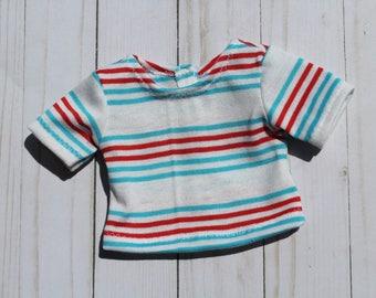 "Short Sleeve Striped Top, Striped Boy Doll T-shirt Handmade To Fit Like American Girl Boy Doll Shirt, 18 inch Boy Doll Top, 18"" Doll Shirt"