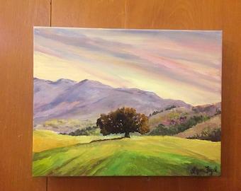 Oak Tree painting, landscape tree painting, landscape oil painting, tree painting, California Oak tree painting,tree oil painting,