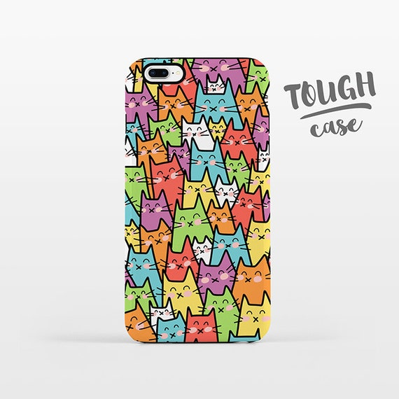 Cat iPhone Case Cat iPhone 8 Plus Case iPhone X Case iPhone 7 Case iPhone 8 Case iPhone 6 Plus Case 6s 5s 5c 5 4 Colorful Phone Case TOUGH