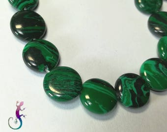 10 coins 12mm Malachite beads