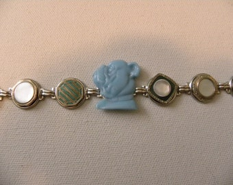 BULLDOG BUTTON BRACELET  Cufflink Buttons Mother of Pearl and Celluloid Vintage