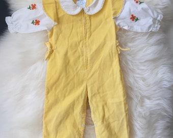 Vintage 70s baby girl yellow cord romper