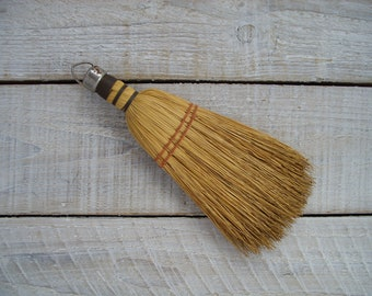 Vintage Whisk Broom ~ Natural Straw Bristle Brush ~ Rustic Farmhouse Cleaning Decor ~ Work Shop Bench Dusting Sweeping Tools