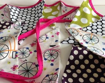 BICYCLE BIKE BANNER--Fabric Bicycle Bunting Garland--Bike--Bicycle--Dots--Pink White Black--Summertime--Bike Riding--Biker--Summer Pastime