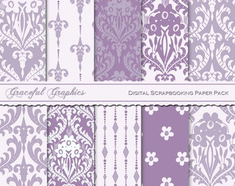 Scrapbook Paper Pack Digital Scrapbooking Background Papers 10 Sheets 8.5 x 11 DAMASK Victorian Camelot Purple Violet Gray 2099gg