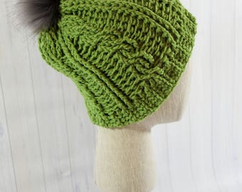 Slouchy Green Hat with Faux Fur pom pom/ Winter/ Birthday Gift/ Christmas Gift/ Gift for Her/ Gift for Mom/ Toboggan/ Beanie/ Girlfriend