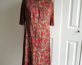 Vintage 1960's Rust Colored Paisley Wiggle Sheath Dress