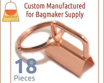 1 Inch Deluxe Key Fob Hardware, Shiny Rose Gold / Copper Finish, 18 Sets, One Inch, 25 mm Purse Handbag Hardware Jewelry, KRA-AA012
