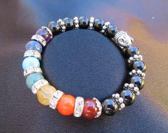 Natural Gemstone CHAKRA bracelet with Black Tourmaline for Protection