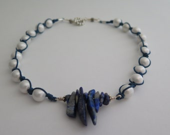 Shell  pearl and blue amazonite knotted Handmade one of a kind necklace