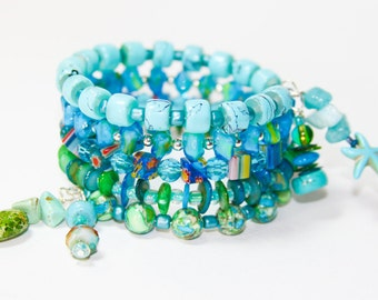 Turquoise Seas Inspired- Memory Wrap Bracelet With Charm Dangles
