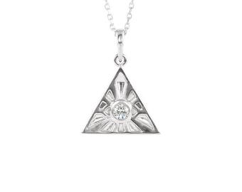 14k Gold Diamond Eye of Providence Pendant Necklace - 14k, 18k White, Rose, Yellow Gold & Platinum. All Seeing Eye. Egyptian Jewelry, Gifts