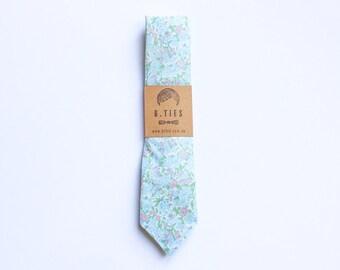 Handmade Necktie - Baby Blue Floral