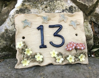 House number plaque, door numbers, handmade ceramic, address plate, ideal house warming gift