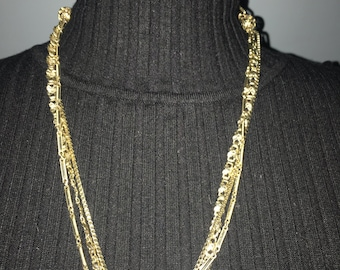 Vintage Jewelry Triple Strand Fashion Necklace