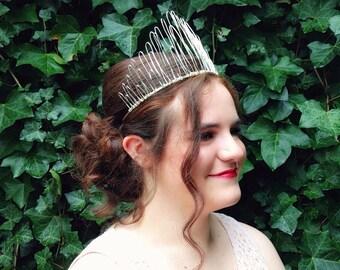 Silver Wire Tiara 'Cadence', Metal Side Crown, Fairy Crown, Alternative Bridal Crown, Faerie Headpiece, Metal Tiara, Womens Fascinator,