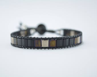 Mens leather bracelet and glass beads