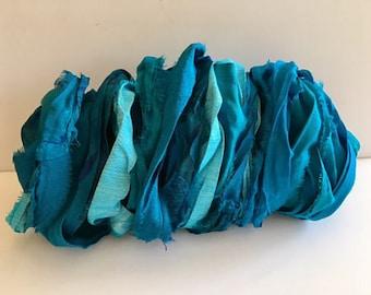 Silk Sari Ribbon-Recycled Turquoise Mix Sari Ribbon-10 Yards